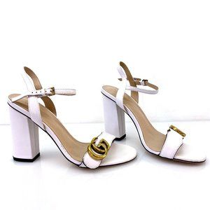 Gucci White Marmont Leather Block Heel Sandals